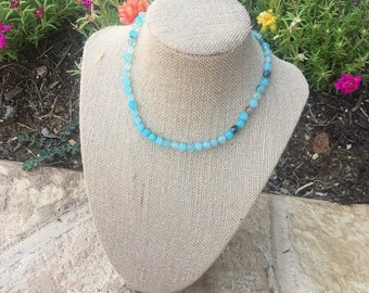 aqua natural beaded necklace with a clasp
