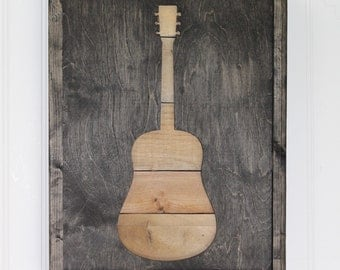 Rustic Guitar Art - Guitar Lover Gift - Music Wood Decor -  Instrument Wall Decor - Rustic Pallet Art - Acoustic Guitar Decor