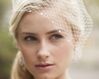 French Net Bridal Birdcage Visor Veil with Swarovski Rhinestone Crystals