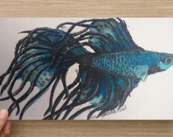 watercolor beta postcard print