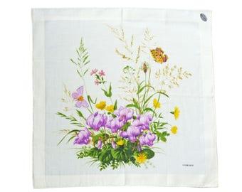 Hankie handkerchief cyclamens Alpenveilchen wild flowers floral Swiss made VINTAGE