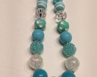 Girls chunky necklace aquamarine teal aqua mint