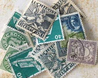 12 Beautiful Green-Blue Postage stamps. Airmail -Vintage, rare from the 50's Great for your Artwork