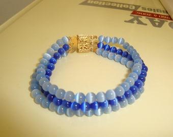 Bracelet small wrist blue cat eye