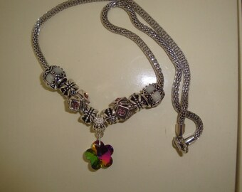 Flower rainbow snake chain necklace