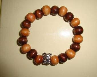 Bracelet elastic waist bead panda silver metal and wood