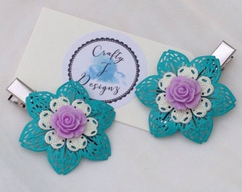 Ladies Vintage Hair Clips, Girls Hair Accessories, Filigree Alligator Clips, Hand Painted Teal, Wedding Hair Accessory, Unique Gift for her
