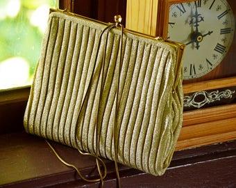 Vintage Gold Lame Evening Bag,Vintage Gold Purse,Gold Lame Purse,Vintage Lame Handbag,Vintage Gold Clutch,Retro Evening Bag,Gold Evening Bag