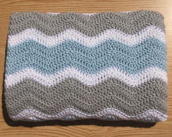 Crochet Baby Blanket/ Blue, Gray and White Chevron Baby Blanket/ Ripple Baby Blanket/ Baby Boy Blanket/ Blue Baby Blanket