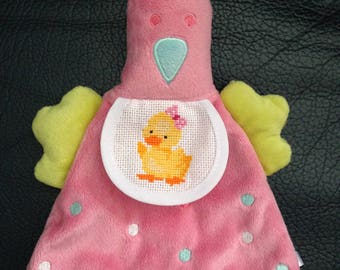 Doudou flat houndstooth pink bib embroidered