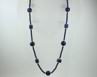 Art Deco Style Sterling Silver Gold Plate Lapis Lazuli Patterned Beaded Necklace