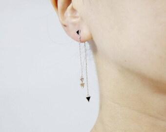 Front and Back Long chain triangles earrings,Arrows String earrings, triangle ear jacket , Long chain earringsLong String Drop Earrings