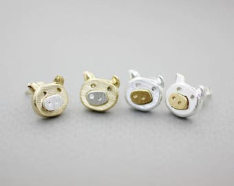 Piggy Bank earrings, Cute Pig stud earrings, Farm Animal earrings, animal jewerly