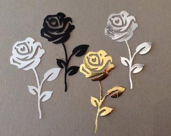 Stem Rose (3) paper die cut embellishment