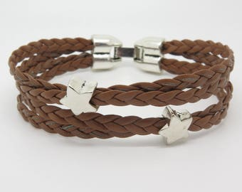 BRACELET WITH 4 LINKS BRAIDED BROWN LEATHER AND PEARLS PASSING STAR