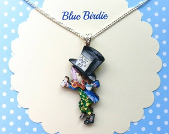 Mad hatter necklace Alice in wonderland jewelry Alice jewelry Alice necklace mad hatter jewellery Alice in wonderland gifts mad hatter