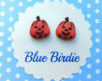 Cute Pumpkin earrings Halloween earrings pumpkin jewellery pumpkin jewelry Jack o lantern earrings pumpkin stud earrings Halloween jewellery