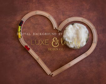 Newborn Photography Prop Digital Background, Train Track Heart