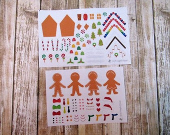 Build your own Gingerbread house stickers, Build your own Gingerbread man/woman stickers, gingerbread stickers