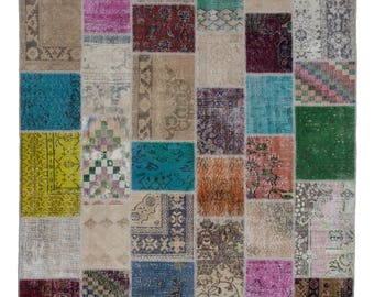 Handmade Overdyed Turkish Vintage Rug - Patchwork Area Rug