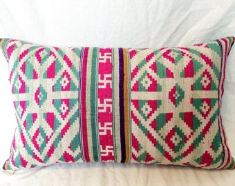 Pink and Teal and Purple Chinese Wedding Pillow