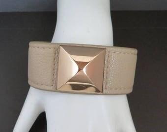 BCB Generation Faux Leather Cuff, Vintage Beige, Gold Tone Snap Bracelet