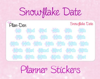 Winter Date Dots - Planner Stickers, Function Stickers, TN Stickers, Winter Stickers,Snowflake stickers, date dot stickers, date stickers