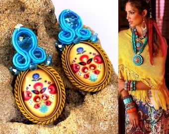 Soutache Earrings Boho Jewelry beads Chandeliers earrings beads Beads Handmade Jewelry Earrings