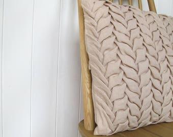 hand smocked pink linen cushion