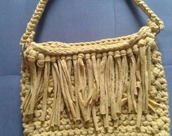 Crochet yellow mustard handbag