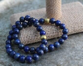 Lapis Lazuli Beaded Elastic Bracelet