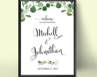 Wedding Welcome Sign, Bohemian Wedding Sign, Printable Wedding Sign, Greenery Wedding Sign, Reception Sign, Customized Sign, Custom sign