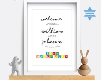Birth print. Birth details print. Birth poster. Baby name print. Baby name sign. Baby gift. Christening/baptism gift. Baby name wall art.