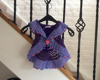 Circular gilet. Hand crocheted . To fit  age 1-2.