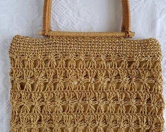 Vintage Macrame Jute Purse / Vintage Handbag / Bohemian Fashion / Vintage Fashion