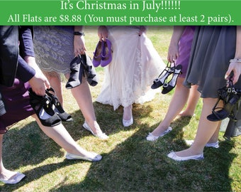 Foldable Flats, Foldable Ballet Flats, Wedding Favors, Bridal Party Gifts, Wedding Flats, Slippers, Bridesmaid Gifts, Bachelorette Gifts