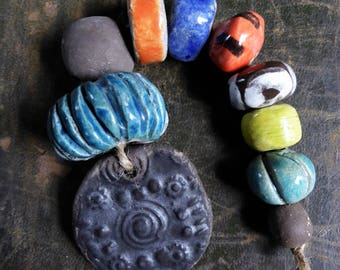 Viking Beads - Artisan made ceramic pendant and beads - set of 9 beads and one pendant