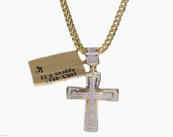 Diamond 10 K Yellow Gold Franco Chain with Diamond Cross Pendant Necklace