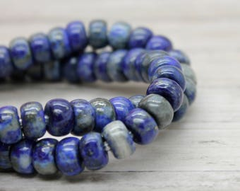 "Lapis Rondelle Gemstone Beads 8"" strand (5mm x 8mm beads, 2.5 mm hole)"