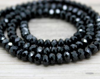 Black Spinel Faceted Rondelle Natural Gemstone Beads (2mm x 4mm, 3mm x 5mm, 4mm x 6mm)