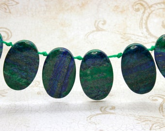 "Blue Green Jasper Natural Flat Oval Smooth Gemstone Beads Loose Bead 22mm x 36mm - 15.5"" Strand"