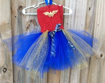 Wonder Woman Costume/ Tutu Dress/ Halloween Costume/ Wonder Woman Birthday/ Cosplay/ Tutu/ Dress/ Halloween/Birthday