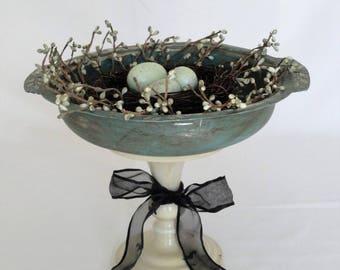 Vintage Farmhouse Bird's Nest Platter Decor