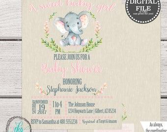 Printable Baby Shower Invitation, Elephant Baby Shower Invitation,  Pink Girl Baby Shower Invitation, Safari Jungle Baby Shower Invitation