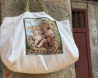 Brocade Fabric tote Bag with tapestry insert and vintage trimming handles