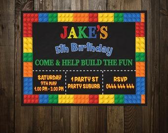 PERSONALIZED, LEGO INVITATION, Printable, Boys Invitation, Girls Invitation, 4th bday, 5th bday, any age kids invitation