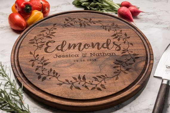 Classic Personalized Wedding Gift, Engraved Wood Cutting Board, Shower Gift for Her, Gift for Bridesmaid, Anniversary Gift, Gift for Couple