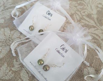 2x green/ metallic green freshwater pearls silver earrings. Stocking stuffers. Bridesmaid gift. Best friends gifts