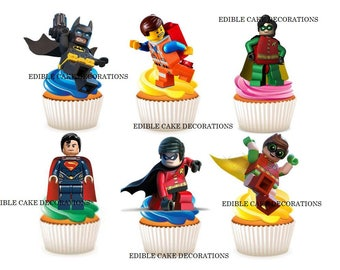 30 x The Lego Batman Movie edible rice fairy paper cupcake cake toppers edible decoration Stand up The Lego Batman Movie CupCake Toppers