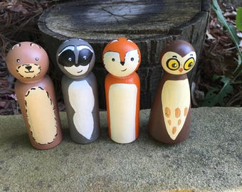 Woodland Friend / Set of 4 / Wooden Peg Dolls, Wooden Peg People, Natural Toys, Imagination Play, Hand Painted Toys, Wooden Toys, Animal Toy